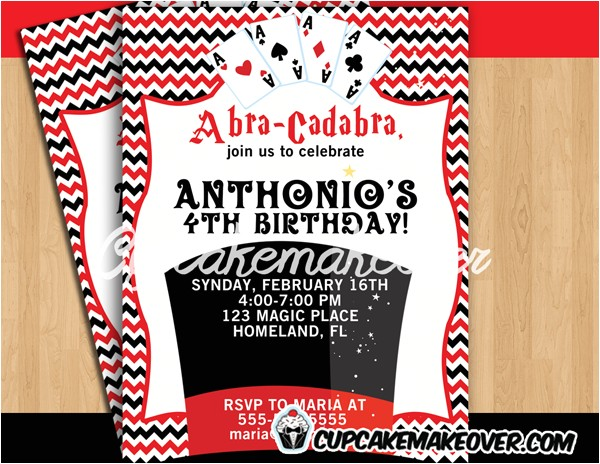 magic themed birthday party invitation personalized