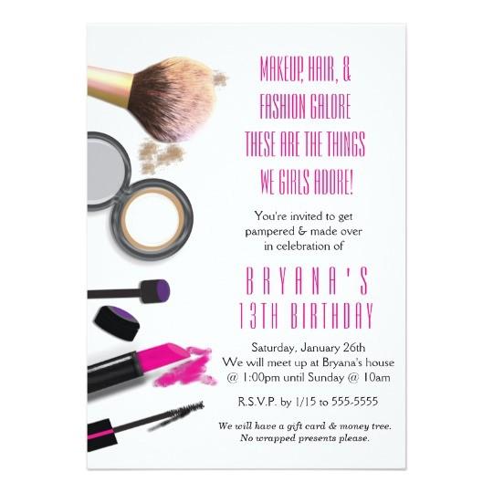 makeup beauty glamour birthday party invitation 256252905572507070