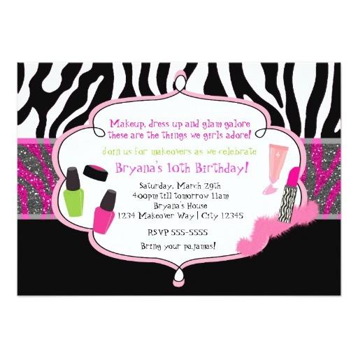 makeup makeover zebra birthday party invitation 161206830547786962