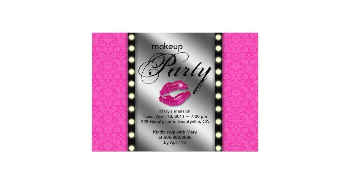 Makeup Party Invitations Free Makeup Party Invitation Advertisement Mirror Zazzle Ca