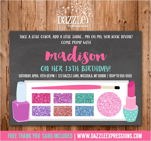 glamour girl makeup birthday invitation free thank you card included