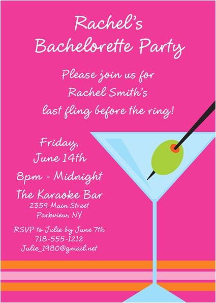 bachelorette martini invitation 439327