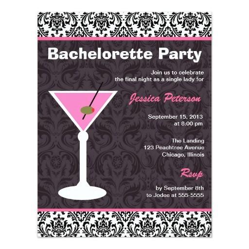 bachelorette party invitation martini modern 161619041079778879