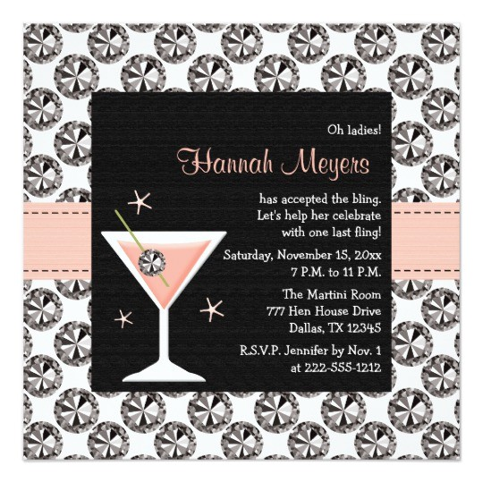 diamonds martini bachelorette party invitations 161271557613019576