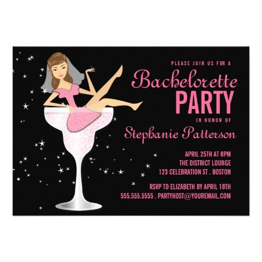 discount deals bachelorette party pink cocktail bride invitation