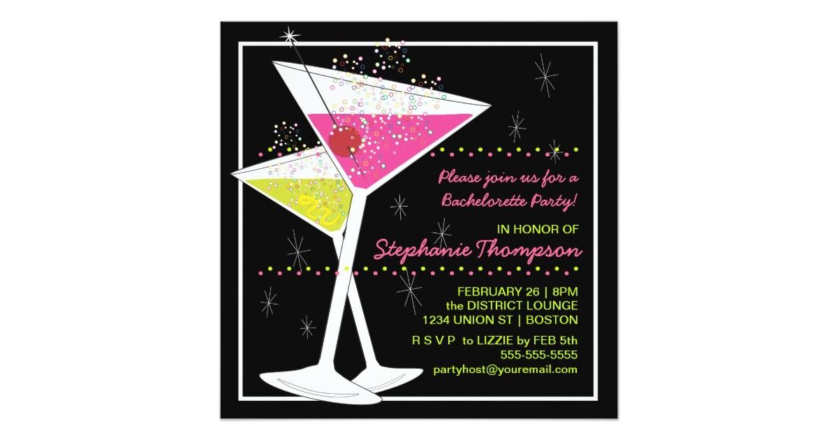 martini cocktail bachelorette party invitation 161430731048643971