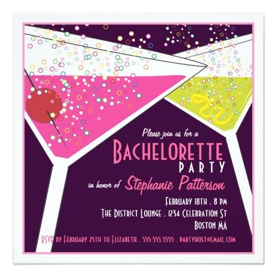 Martini Bachelorette Party Invitations Pink Lime Martini Bachelorette Party Invitation Zazzle Com