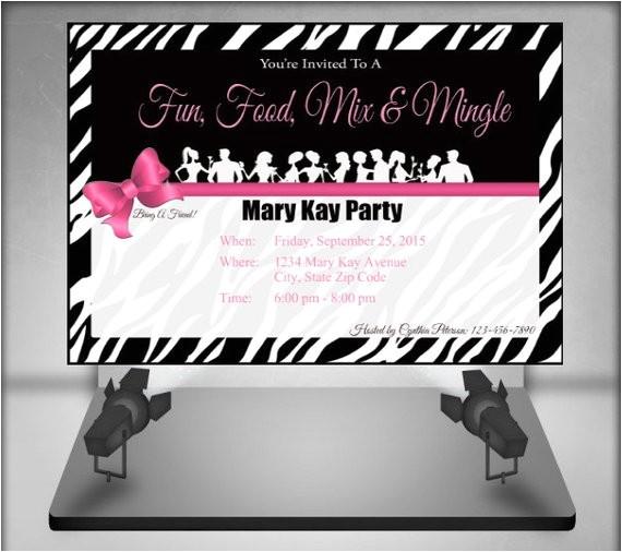 mary kay zebra party invitation