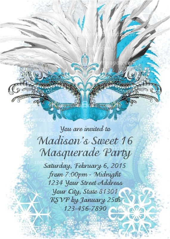 diy ice blue masquerade ball invitation