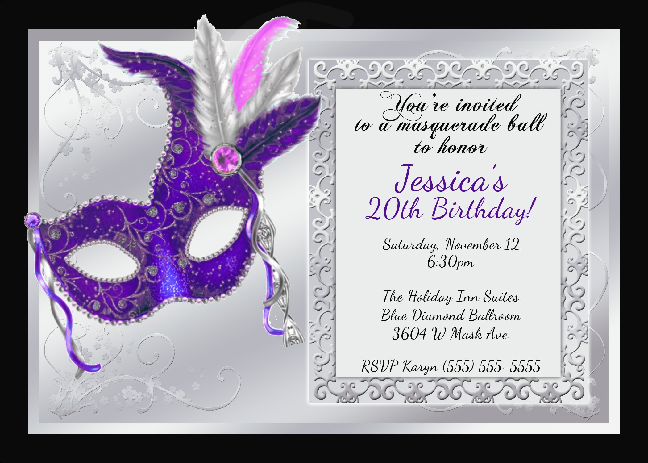 mardi gras and masquerade birthday invitations