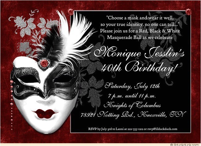dramatic mask 40th birthday invitation