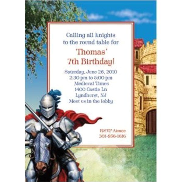 medieval knight personalized invitation each