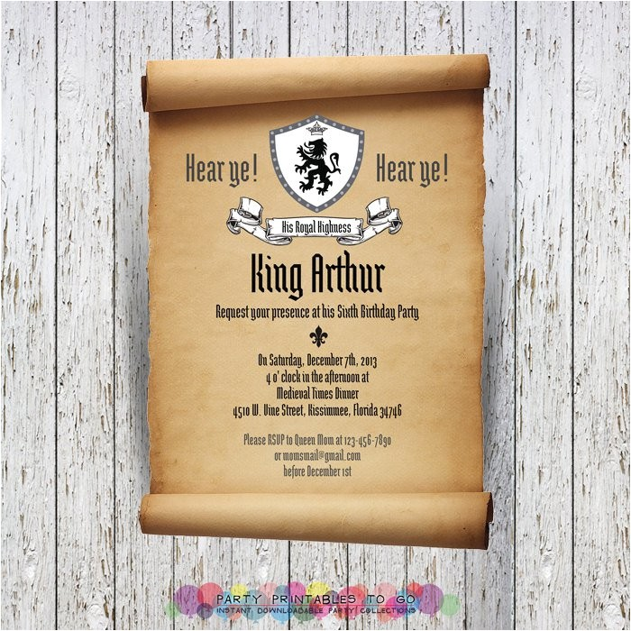 medieval party invitation wording