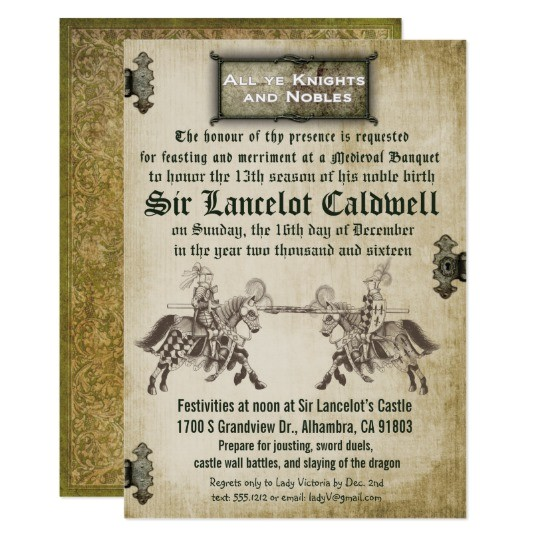 medieval renaissance birthday wedding invitation 256119946014779414