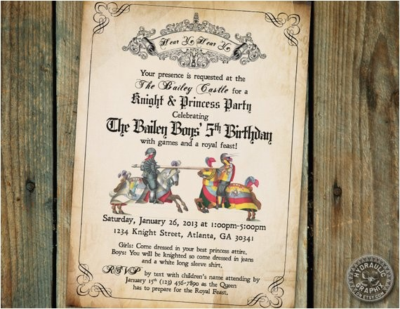 medieval times renaissance birthday party invitation 2