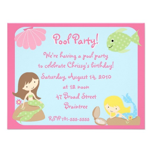 krw cute mermaid pool party invitations 161045342905999804