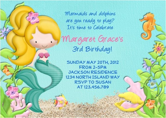 sea mermaid birthday invitation printable choose