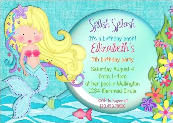 pretty mermaid birthday invitation printable custom