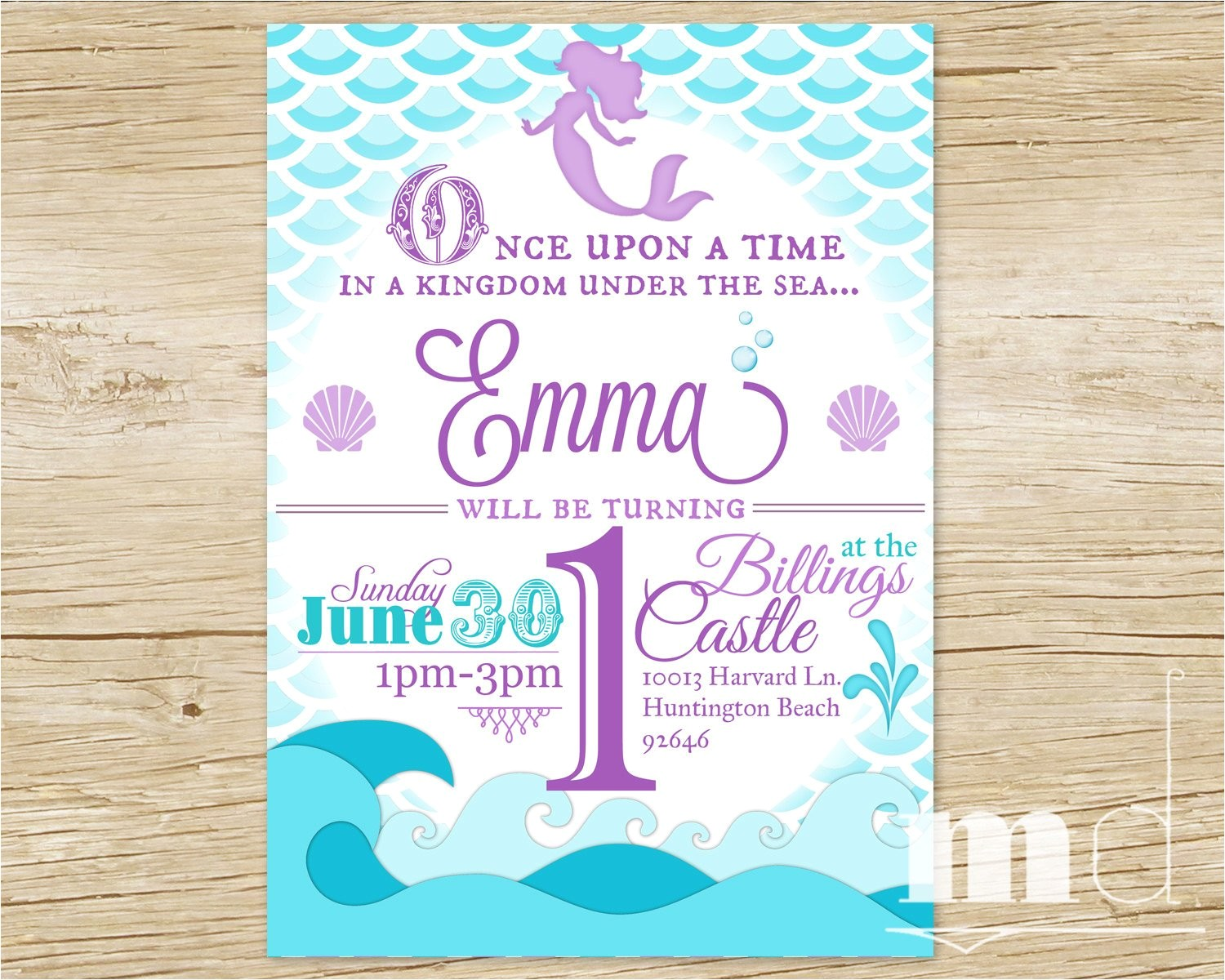 mermaid birthday party invitation little