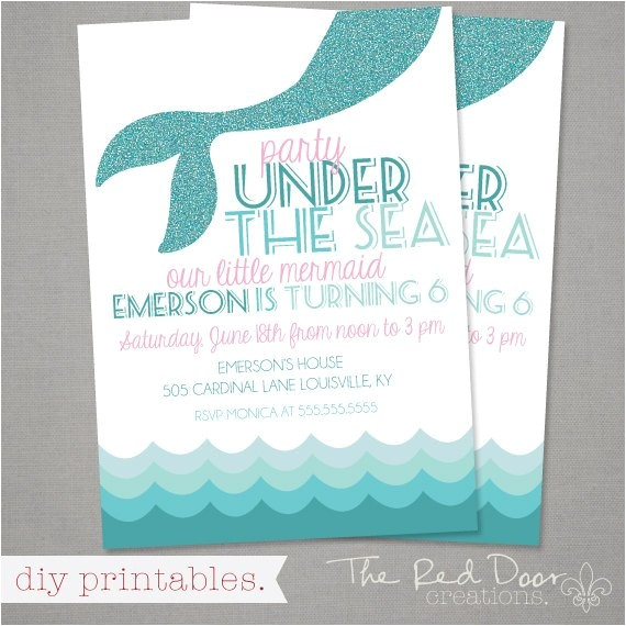 mermaid theme birthday invitation party