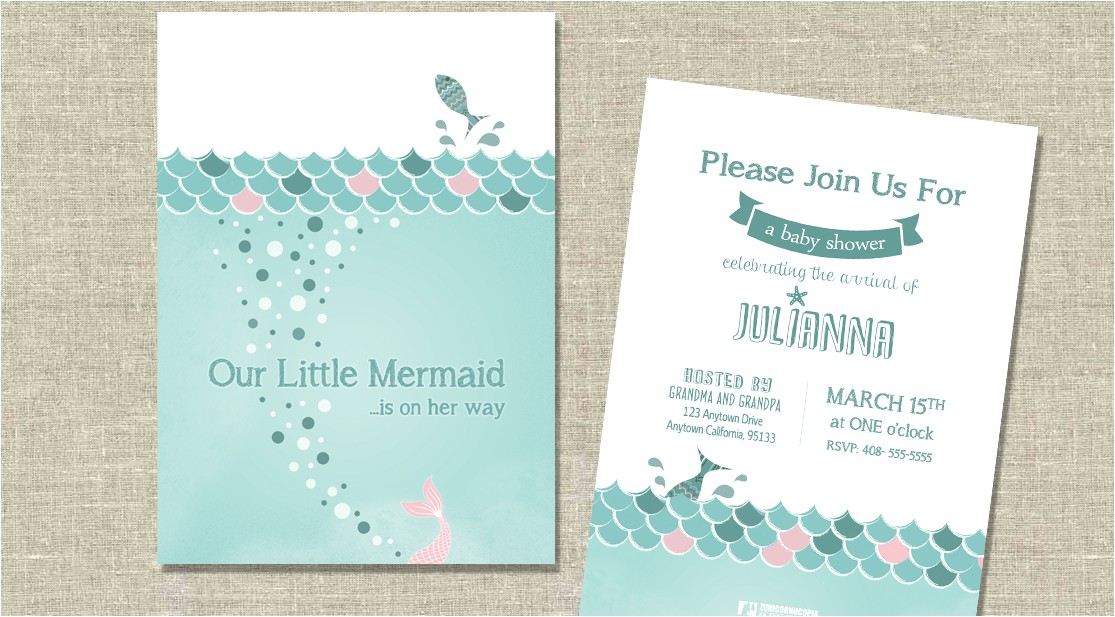 mermaid themed baby shower invitation or birth announcement