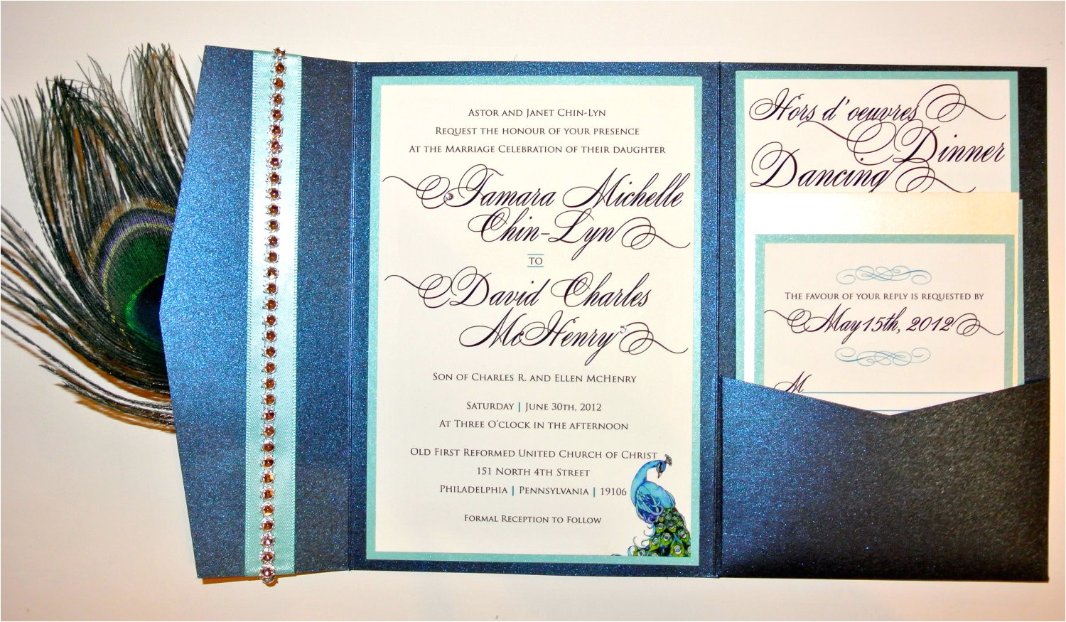 peacock wedding invitations kit