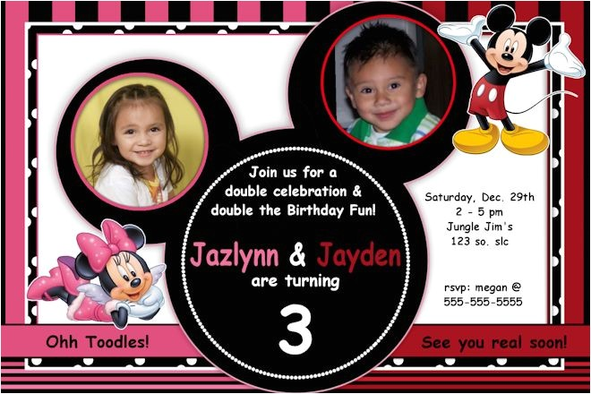 mickey minnie mouse invitation you print custom party personalized digital photo card