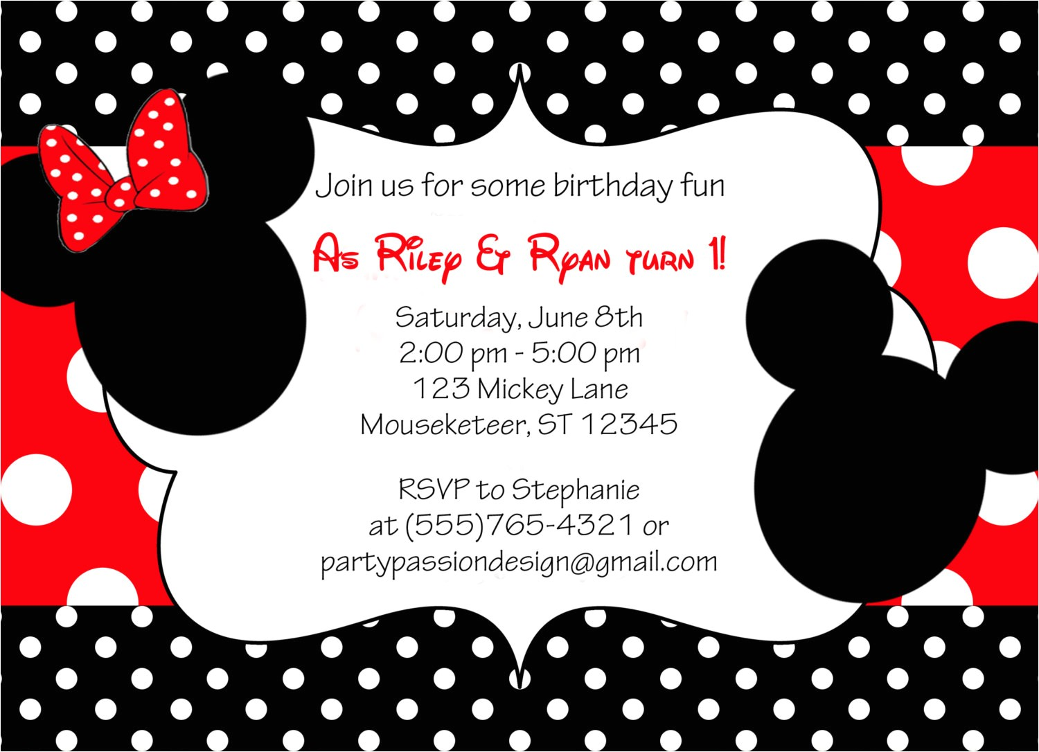minnie and mickey invitation