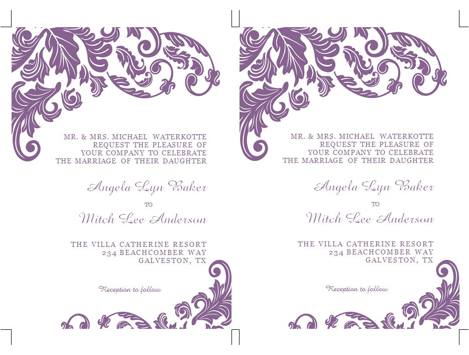 formatted 2 page wedding invitation templates microsoft word