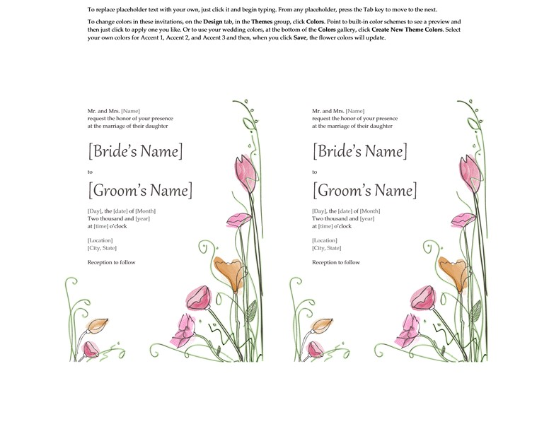 Microsoft Word Wedding Invitation Templates Microsoft Word 2013 Wedding Invitation Templates Online