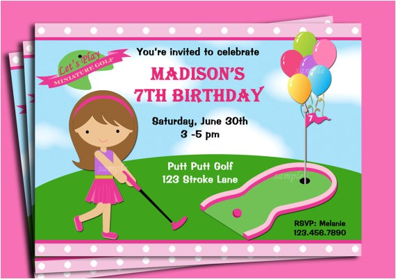 mini golf birthday party invitations