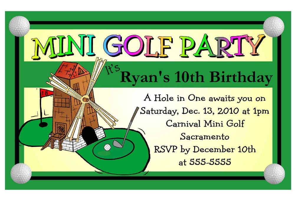 Miniature Golf Birthday Party Invitations Mini Golf Miniature Golf Birthday Party Invitations Ebay