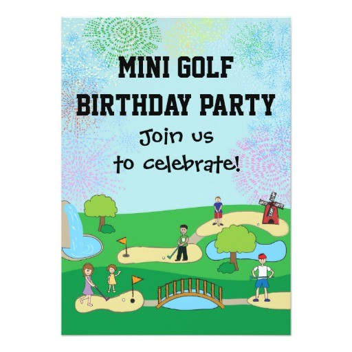 mini miniature golf birthday party invitations 161673777134489786