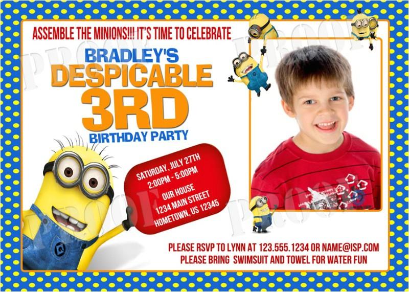 minion birthday invitations printable