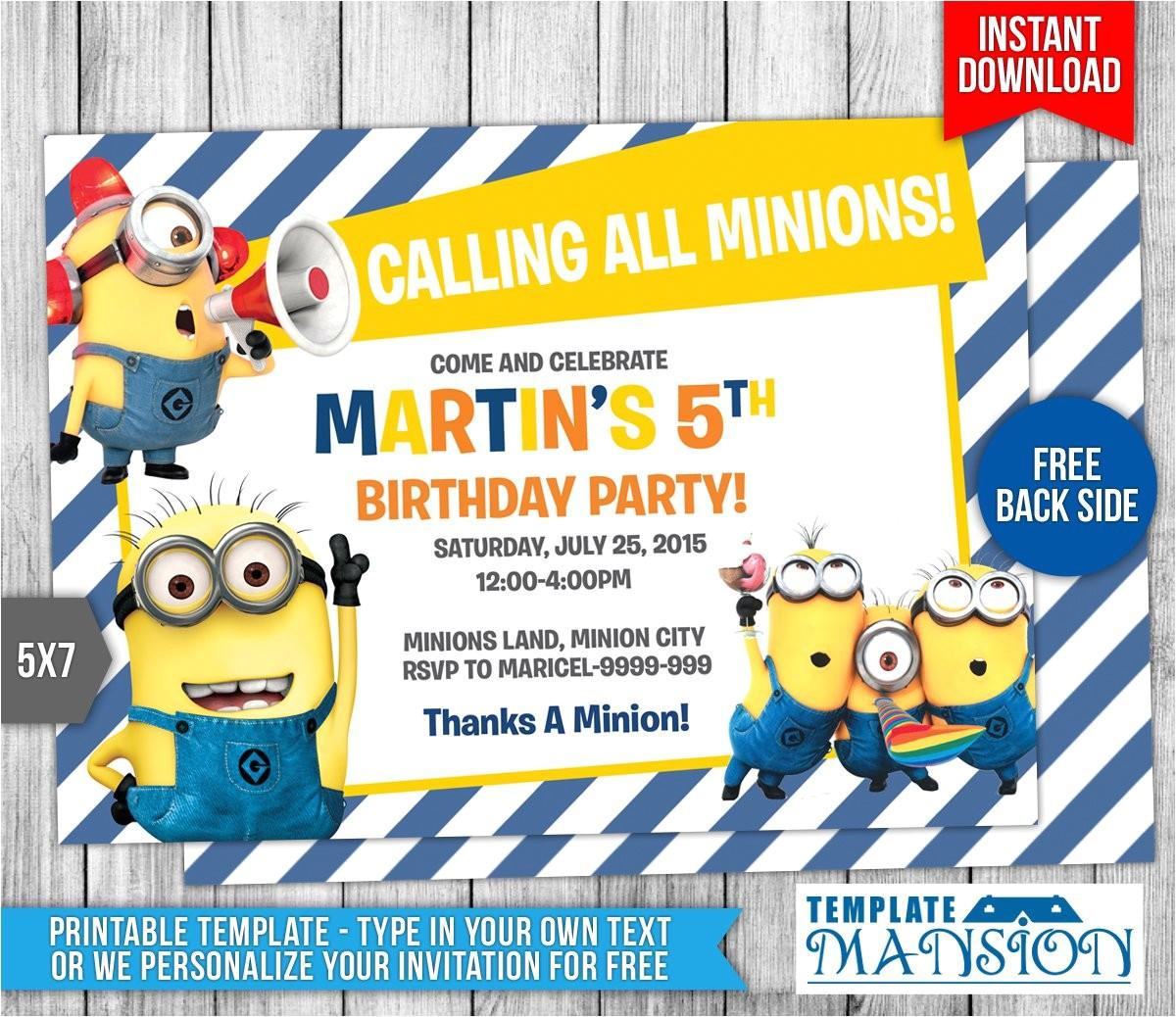 Minions Party Invites Minion Birthday Invitations Best Party Ideas