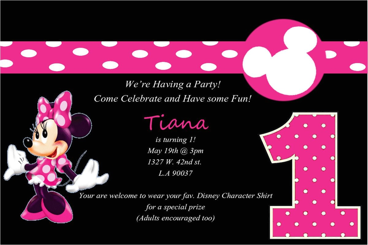 minnie mouse 1st birthday party invitations