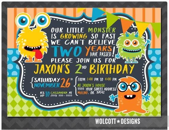 monster birthday invitation boy girl birthday