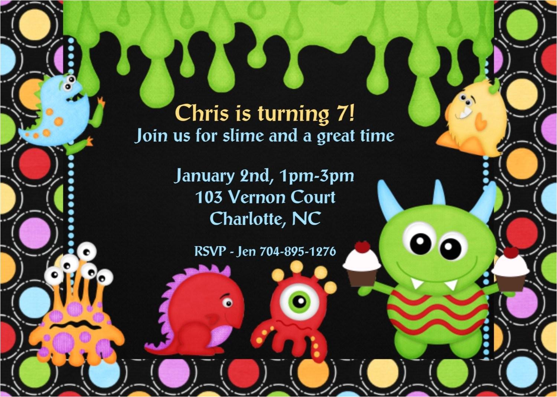 monster themed birthday invitations