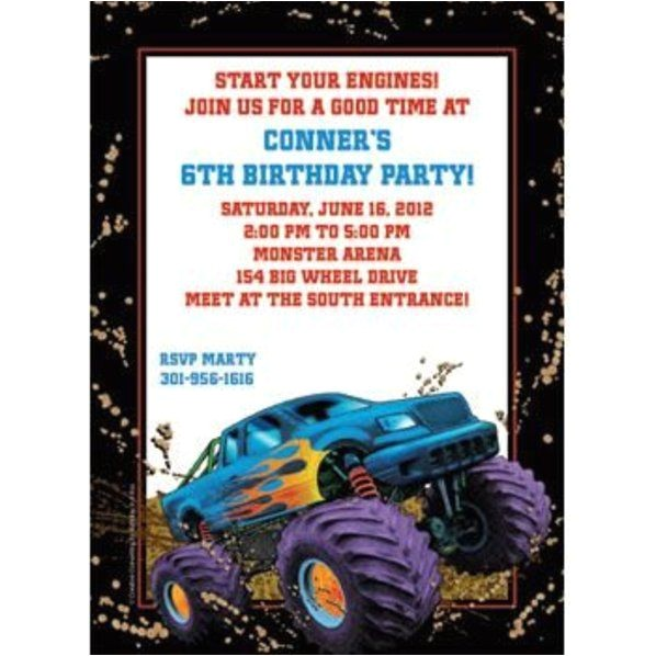 monster truck personalized invitation each