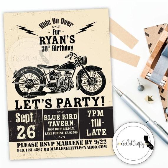 motorcycle birthday party invitation