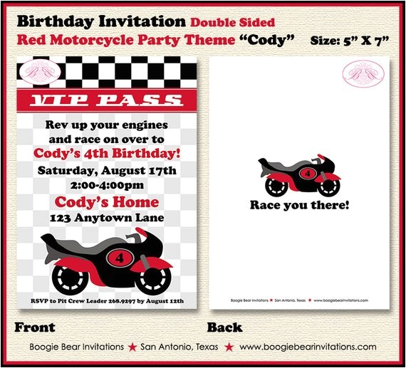 motorcycle birthday party invitation red