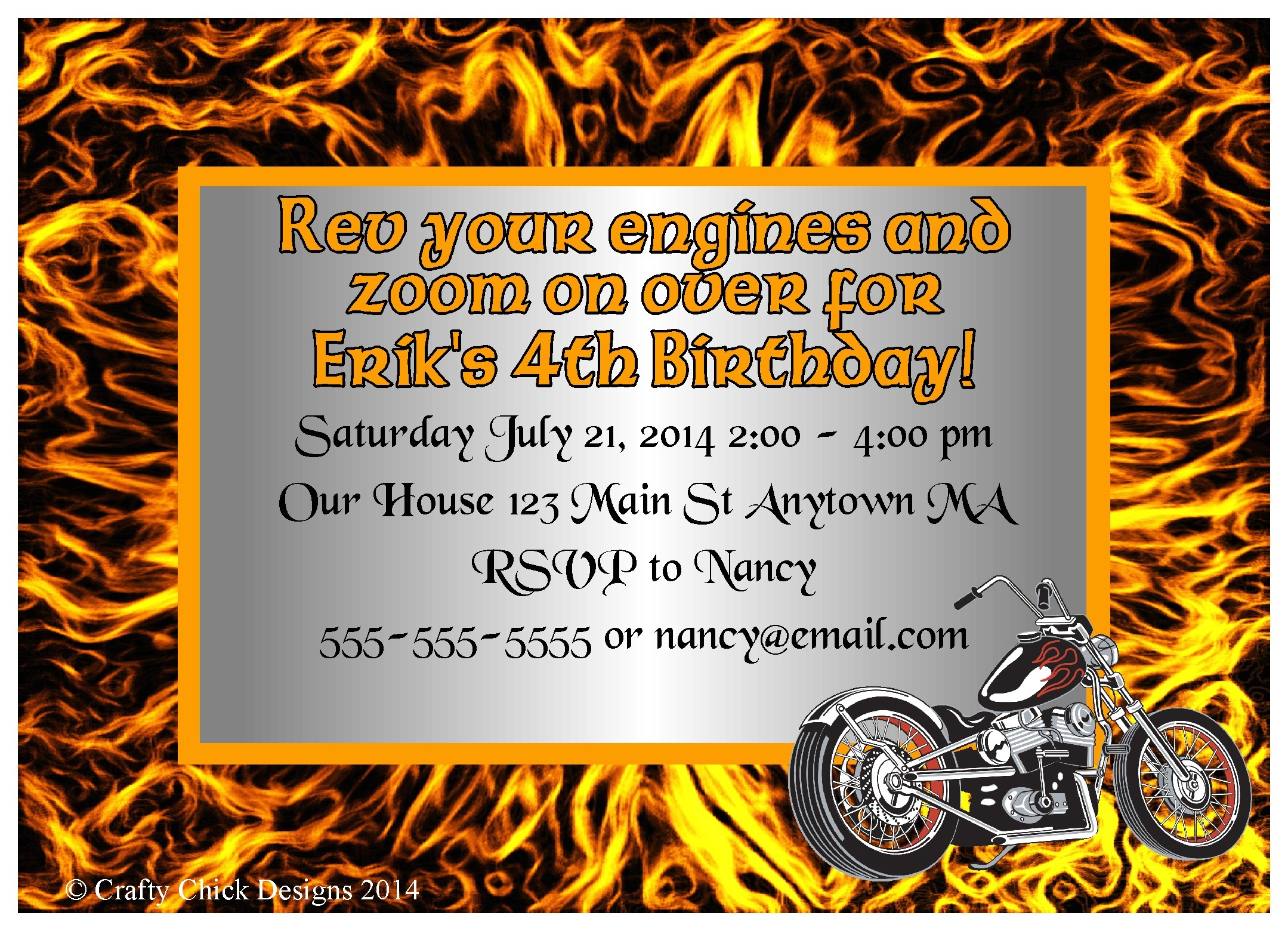 motorcycle theme birthday party invitations