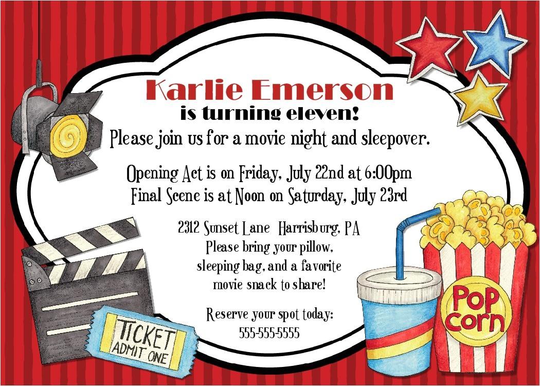 3 nice movie night birthday party invitations