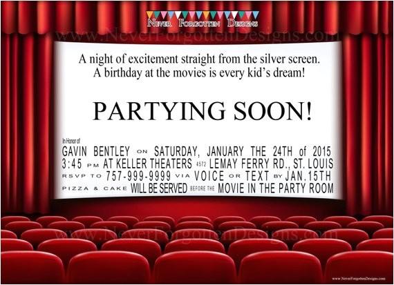 movie theater birthday party invitations