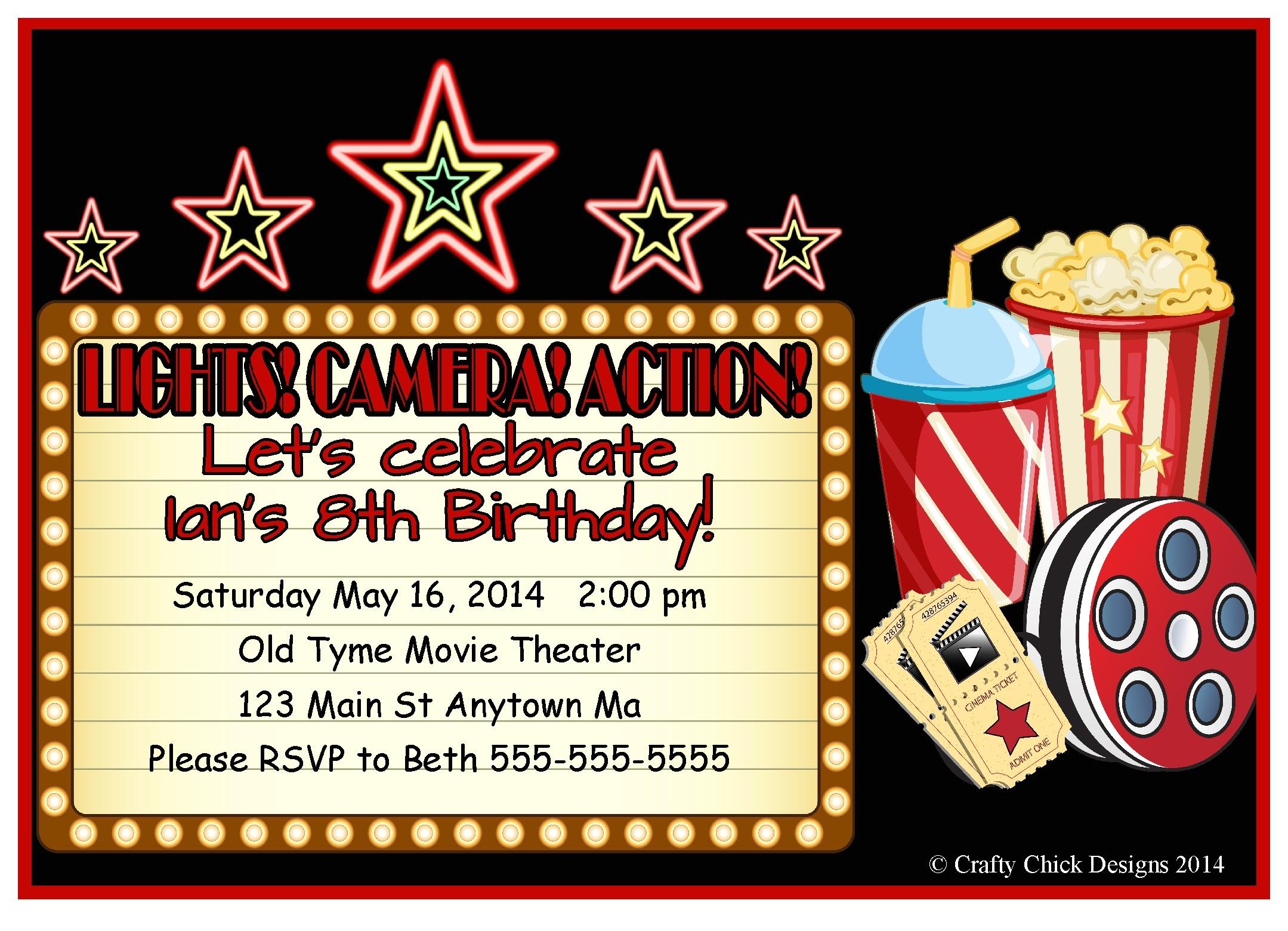 movie theater birthday party invitations style 2