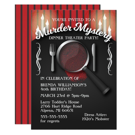murder mystery dinner theater party invitation 256264952919025337