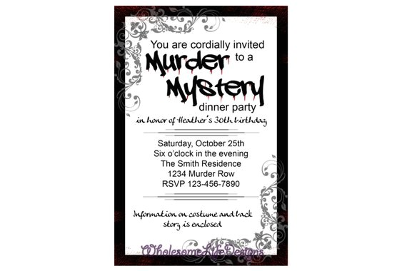 murder mystery invitation black and