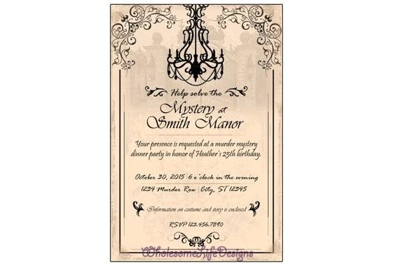murder mystery invitation chandelier