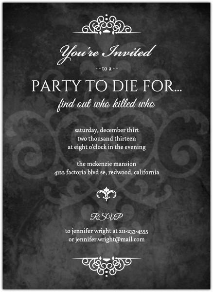 murder mystery black dinner party invitation