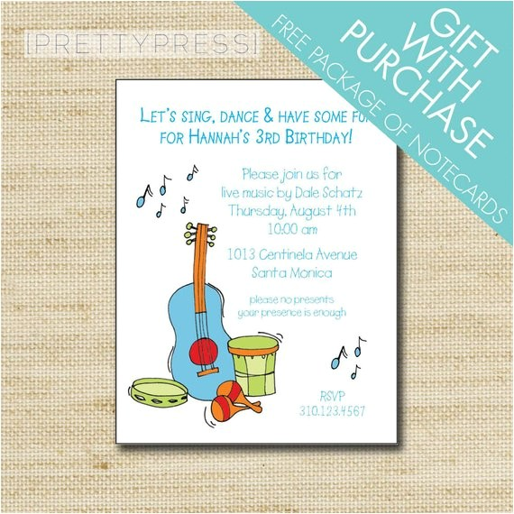 music birthday invitation kids music